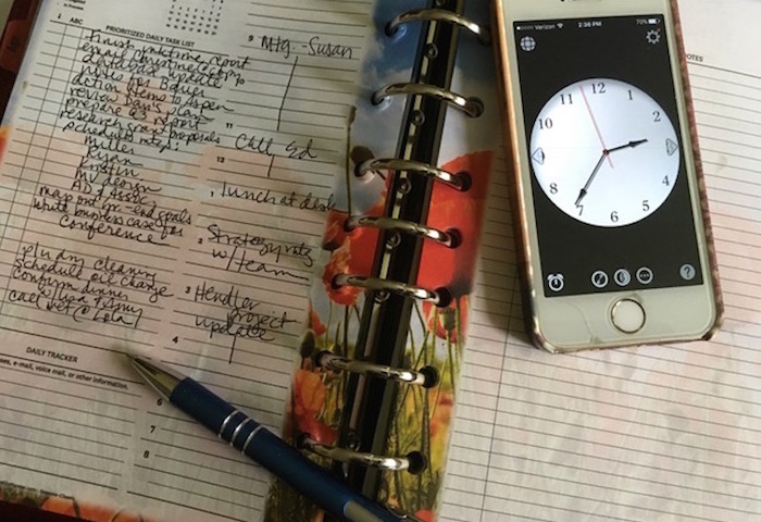 Planner and clock for scheduling day